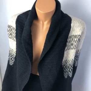 Cynthia Rowley black/cream wool open cardigan Sz S